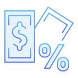 Banknote with percent sign flat icon. Loan blue icons in trendy flat style. Interest and money gradient style design. Designed for web and app. Eps 10 stock illustration