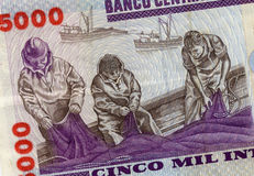 Banknote from Peru. Fishermen on 5000 intis 1988 back of banknote from Peru Stock Image