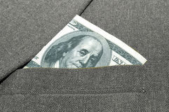 Banknote in a pocket. Royalty Free Stock Image
