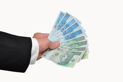 Banknote polish. Banknotes  polish held in the hand Stock Images