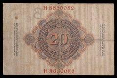 Banknote (Rechnung) von keiser Deutschland Kennzeichen 20 1910 Rückseite Lizenzfreie Stockfotografie