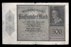Banknote (Rechnung) von Weimar-Republik Kennzeichen 500 1922 obverse Lizenzfreie Stockfotografie