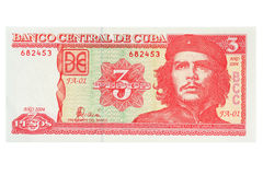 Banknote Republic of Cuba 3 pesos. Ernesto Che Guevara Royalty Free Stock Photos