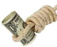 Banknote in running knot Royalty Free Stock Photography