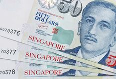 Banknote singapore dollar. 50 singapore dollar banknote looks new Royalty Free Stock Photo