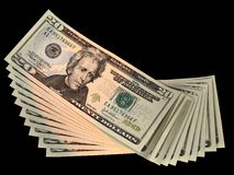 Banknote Spread. A stack of new 20 dollars United States bills stock photography