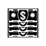 Banknote stack black icon Royalty Free Stock Image