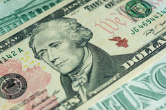 Banknote in ten American dollars Royalty Free Stock Photography