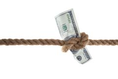 Banknote tied in a rope Royalty Free Stock Image
