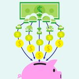 Banknote Transforming Into Coins  And Get In Piggy Bank. Vector Illustration Of A Banknote Is Slowly Transforming Into Coins Piece By Piece And Get In A Pink Stock Image