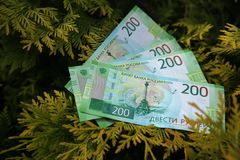 Banknote two hundred Russian rubles. Cash paper green money on the branches of the tree. Finance stock image