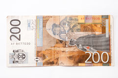 Banknote of two hundred Serbian dinars.  stock photography