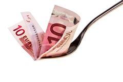 Banknote und Gabel des Euro 10. Lizenzfreie Stockfotos