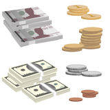 Banknote und Münzen Stockfotos