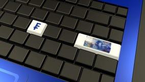 Banknote und Zeichen des Schweizer Franken auf der Laptoptastatur Lizenzfreies Stockfoto