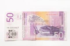 Banknote von fifthy serbischen Dinaren Stockbild