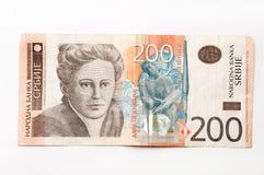 Banknote von zweihundert serbischen Dinaren Stockbild