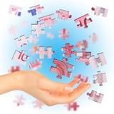 Banknoteeuro wird in Puzzlespiele unterteilt Lizenzfreies Stockfoto