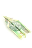Banknoteflugzeug Lizenzfreie Stockbilder