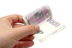 Banknotegeld Tscheche-tausend in einer Hand Stockbilder