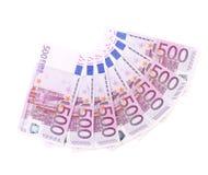 Banknoten auf 500 Euros ausgebreitet von einem Fan Stockfotografie