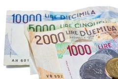 Banknoten aus Italien Italienische Lira Lizenzfreie Stockbilder