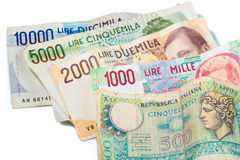 Banknoten aus Italien Italienische Lira 10000, 5000, 2000, 1000 und 5 Stockbilder