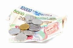 Banknoten aus Italien Münzen der italienischen Lira und des Metalls Lizenzfreies Stockfoto