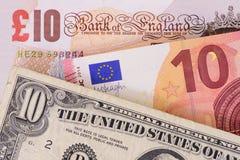 Banknoten in den verschiedenen Währungen Lizenzfreies Stockbild