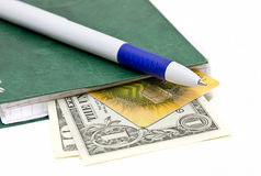 Banknoten der Feder und einiger Dollar Stockfotos