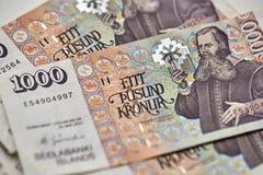 Banknoten der isländischen Krona Stockbilder