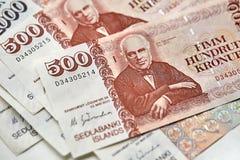 Banknoten der isländischen Krona Stockfotografie