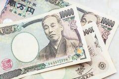 Banknoten der japanischen Yen Stockfotos