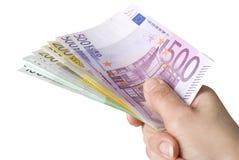 BANKNOTEN der Nahaufnahme of100, 200 und 500 Euro. Lizenzfreie Stockfotos