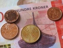 Banknoten der norwegischen Krone und Münzen, Norwegen Stockfoto