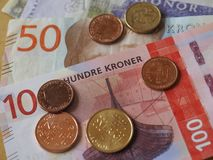 Banknoten der norwegischen Krone und Münzen, Norwegen Lizenzfreies Stockfoto