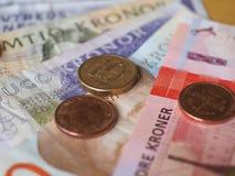 Banknoten der norwegischen Krone und Münzen, Norwegen Lizenzfreie Stockfotografie