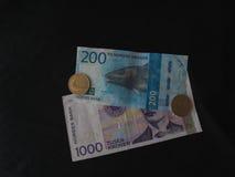 Banknoten der norwegischen Krone und Münzen, Norwegen Stockbild