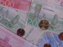 Banknoten der Schwedischen Krone und Münzen, Schweden Lizenzfreie Stockfotos