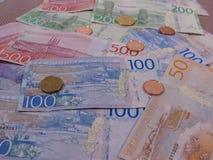 Banknoten der Schwedischen Krone und Münzen, Schweden Stockbild