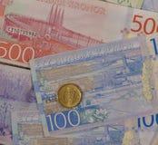 Banknoten der Schwedischen Krone und Münzen, Schweden Stockbilder