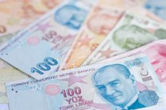 Banknoten der türkischen Lira Muster von 5000 Rubeln Rechnungen Lizenzfreie Stockbilder