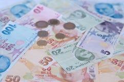 Banknoten der türkischen Lira Muster von 5000 Rubeln Rechnungen Stockfotos