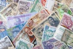 Banknoten der verschiedenen Länder Stockfotos