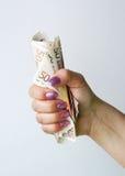 Banknoten in der weiblichen Hand Stockbild
