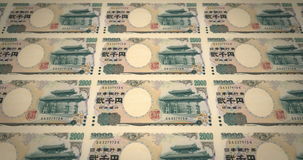 Banknoten des japanischen Rollens von zwei tausend Yen auf Schirm, Bargeld, Schleife stock video