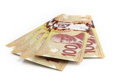 Banknoten des kanadischen Dollars Stockbild