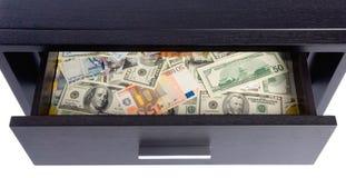 Banknoten in einem Fach Lizenzfreies Stockfoto