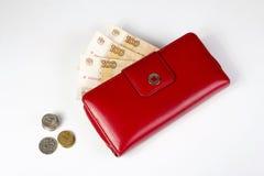 Banknoten in einer roten Geldbörse und in den Münzen lizenzfreie stockfotografie