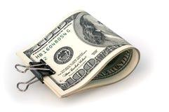 Banknoten für hundert Dollar werden gefaltet und geheftet Weißer Hintergrund Getrennt Lizenzfreie Stockfotografie